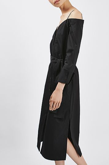 Womens black cotton bardot dress by boutique from Topshop - £69 at ClothingByColour.com
