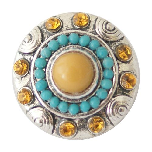 Chunk Snap Charm Topaz Color Stone with Turquoise and Topaz Stone Border 20mm