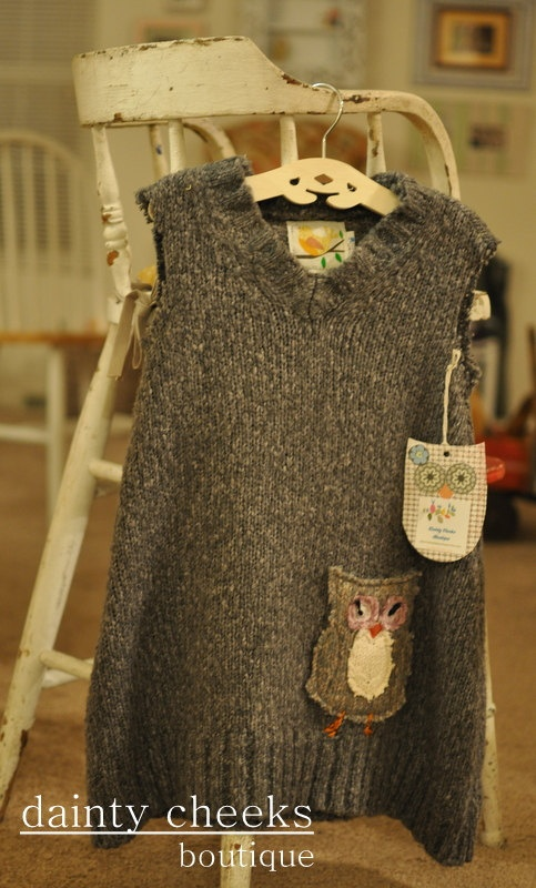 Grey upcycled toddler knit dress/ jumper w/ owl