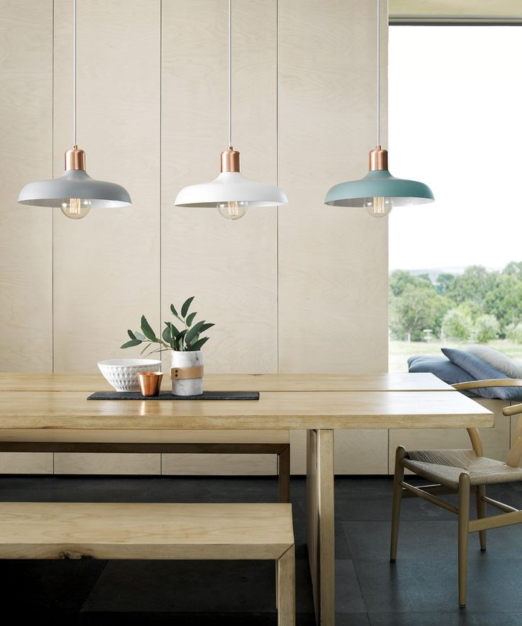 Beacon Lighting - Croft 1 light metal pendant in ash with brushed copper detail Grey for over kitchen bench