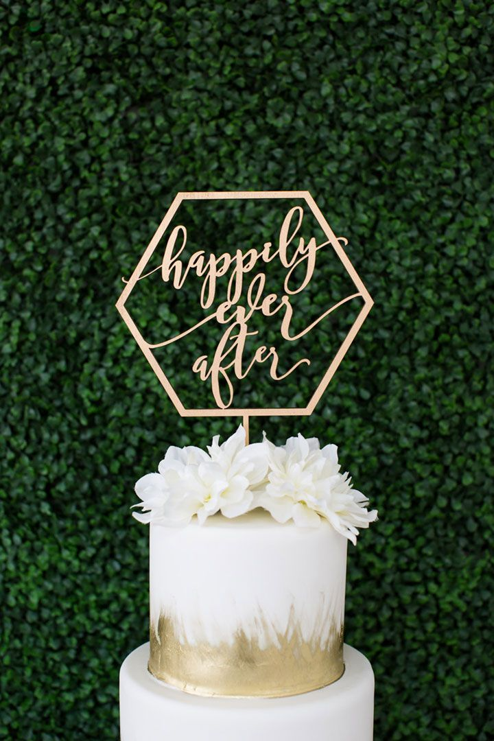"Gold metallic geometric laser cut ""happily ever after"" wood topper by Let's Tie The Knot"