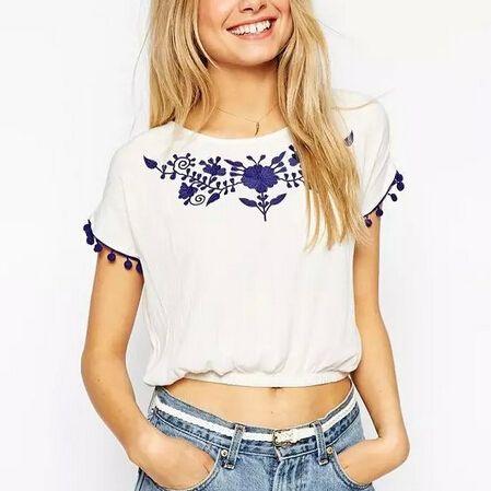 DT292 девушки Способа синий цветочный Вышивка растениеводство футболка сладкий белый с коротким рукавом рубашки вскользь тонкой симпатичные короткие топы купить на AliExpress
