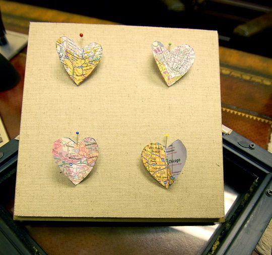 map hearts: Travel Memories, Pinterest Challenges, Gift Ideas, Paper Heart, Heart Ideas, Maps Heart, Diy Home, Heart Maps, Travel Heart