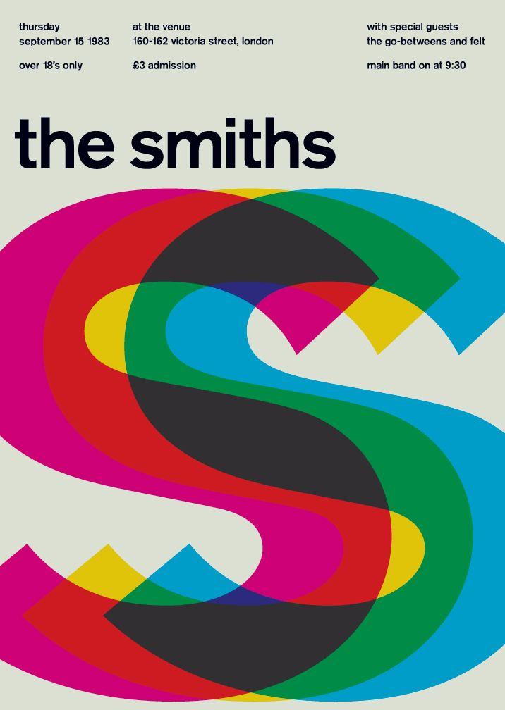 The Smiths at the Venue, London, 1983(by swissted). Cartel basado en la síntesis sustractiva del color o colores pigmento, donde los primarios son elcian, magenta y amarillo y los secundarios el rojo anaranjado, azul violeta y verde.