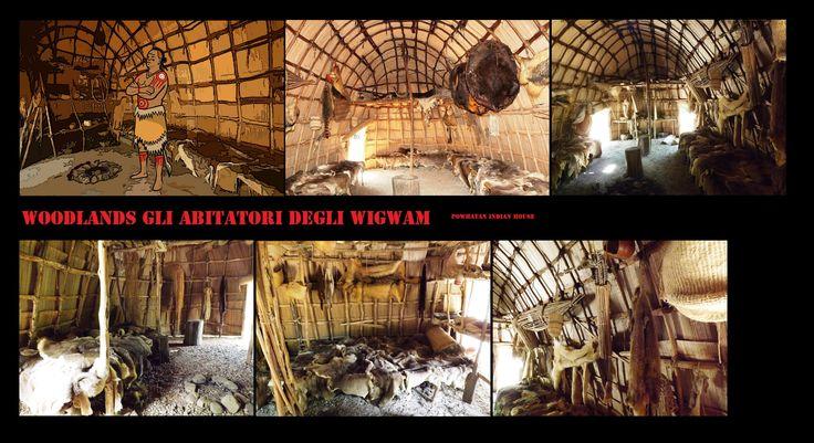 Ricostruzione di wigwam degli algonchini della Virginia e Nord Carolina:vista degli interni.