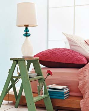 Ladder as Bedside Table - I just might do this someday and I have just the right ladder for the job : )