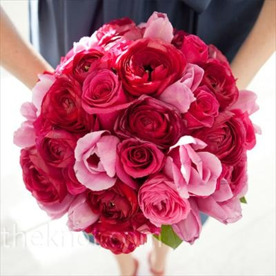 Pink and red roses for the bouquets, then more whites and paler pinks with pops of these colors for the reception.