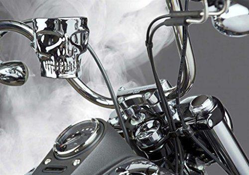 Kruzer Kustom Kaddy Chrome Skull Motorcycle Cup Holder HANDLE BAR Mount #KruzerKaddy