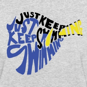 Grinning Bobcat Designs: Just Keep Swimming t-shirt