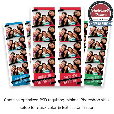 Ribbon Photo Strips. A photo booth template designed for formal and informal or events. This design features a wrapped ribbon and modern text for the event's or host's name.