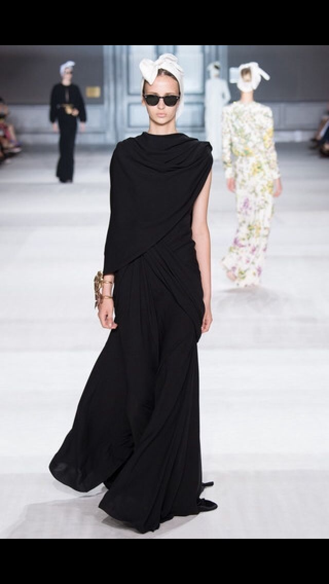Giambattista Valli SS 15. Incredible draping, fab styling with the wrap and sunglasses.