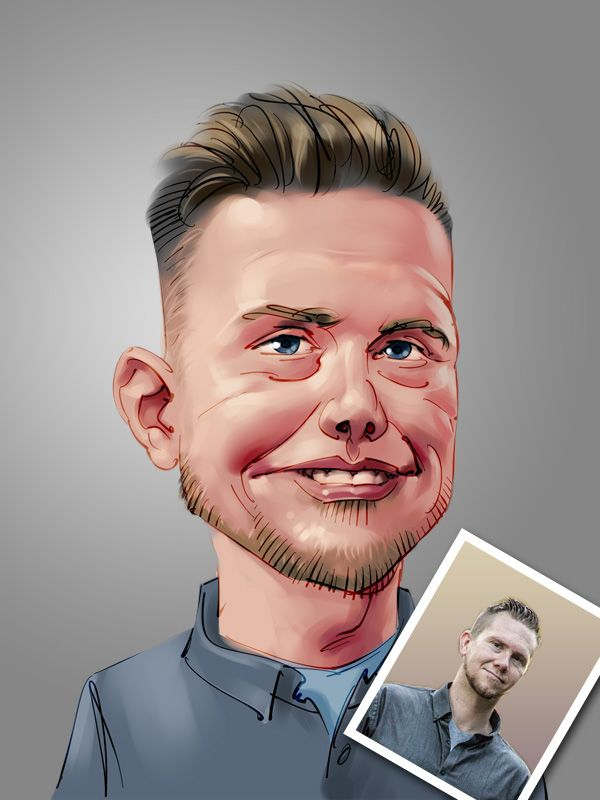 professional team member caricature digital painting