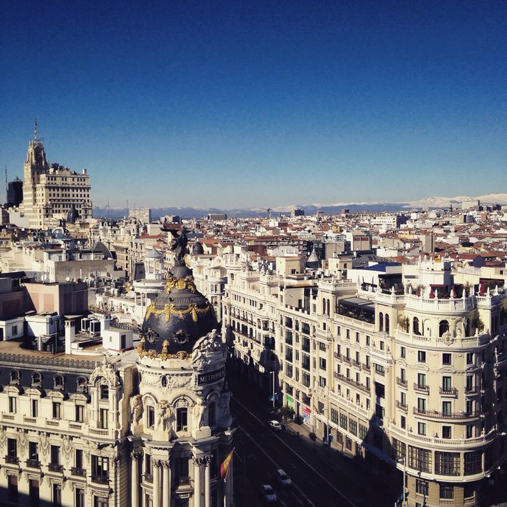 Rooftop Madrid. View on the Metropolis.