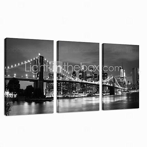 star®black visual e branco impressão London Bridge lona esticada famoso arte moderna parede pronto para pendurar de 2017 por kr.670