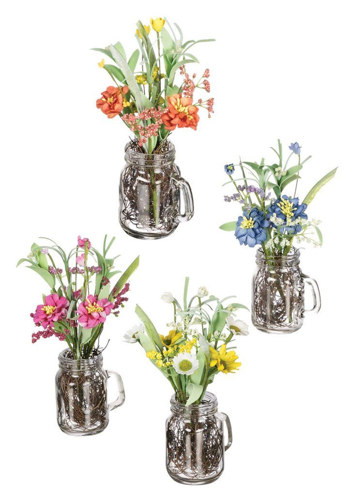 Make home decorating simple with pre-made artificial flower arrangements from Afloral.com. Brighten any space with these colorful wildflowers in cute glass jars.