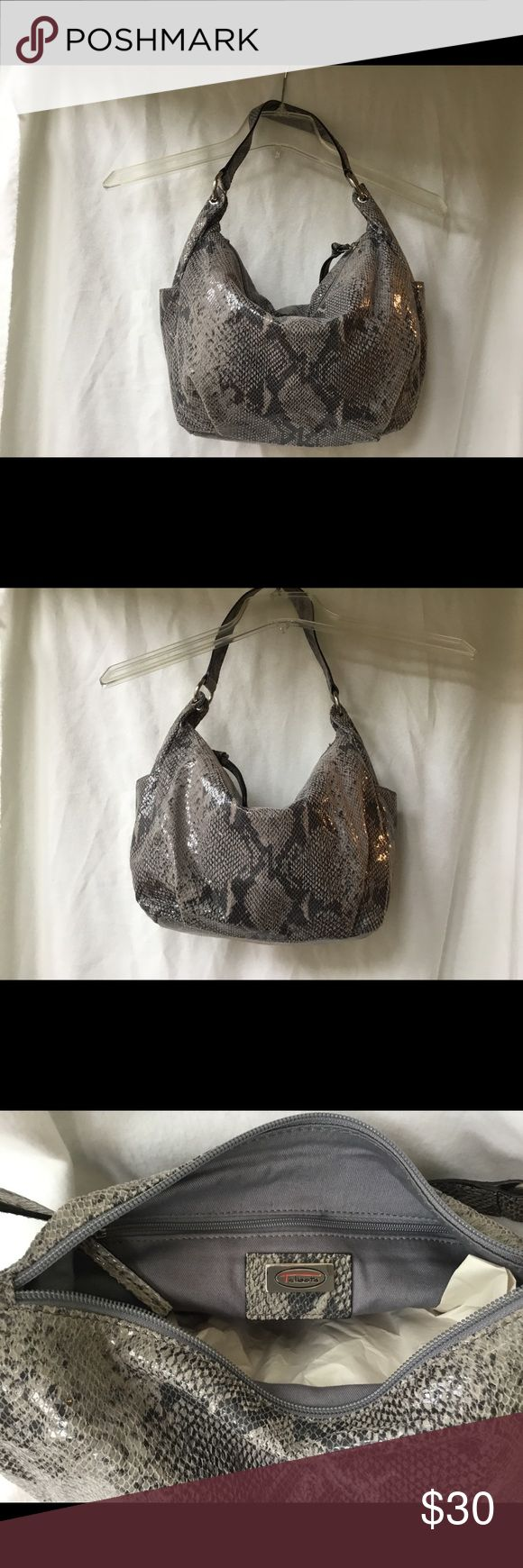 Talbots Bag Talbots faux snakeskin handbag with shoulder strap. Fabric has a slight shimmer. This medium-sized bag coordinates with all your neutrals. Looks good winter and summer. One large compartment inside and both ends have pouch for small items. Talbots Bags Hobos
