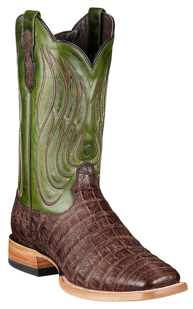 Ariat® Nitro™ Men's Roughed Tobacco Caiman Belly with Neon Lime Top Double Welt Square Toe Exotic Cowboy Boot