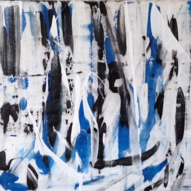 """GAS METANO VINCENZO LOMBARDO Acrilico su Tela - 100x100cm - 2014   Le """"stratificazioni"""" di colore: il blu indica le antiche e stratificate formazioni rocciose. Il nero la profondità dei giacimenti dove l'idrocarburo è reperibile e il bianco l'estrazione e la successiva immissione nelle reti di distribuzione.."""