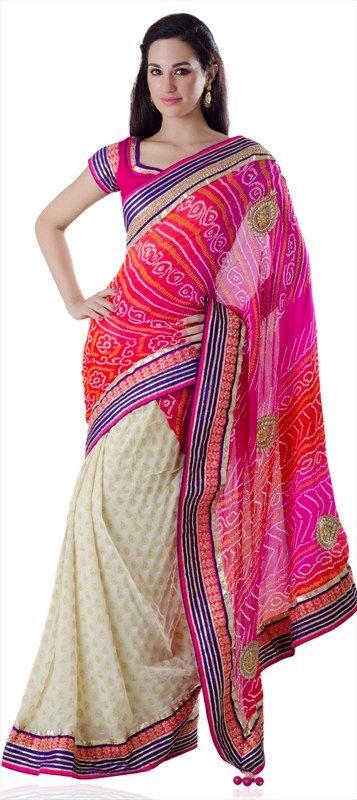 125246: #bandhej #saree #colorblock #neonpink
