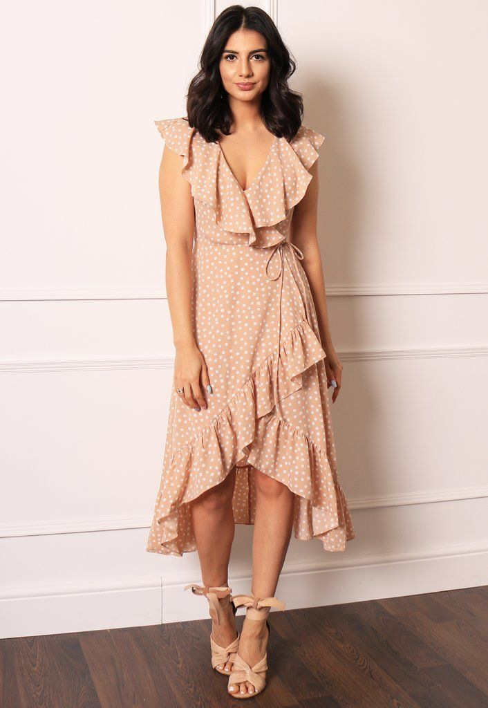 57042697fddf7 Polka Dot Sleeveless Frill Wrap Midi Dress in Nude & White – One Nation  Clothing