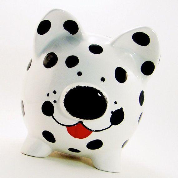 Cachorro de perro Dalmation hucha alcancía por ThePigPen en Etsy