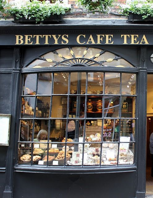 Bettys Cafe Tea Salon in Yorkshire, England. Bow-fronted café...wouldn't you really rather be here?