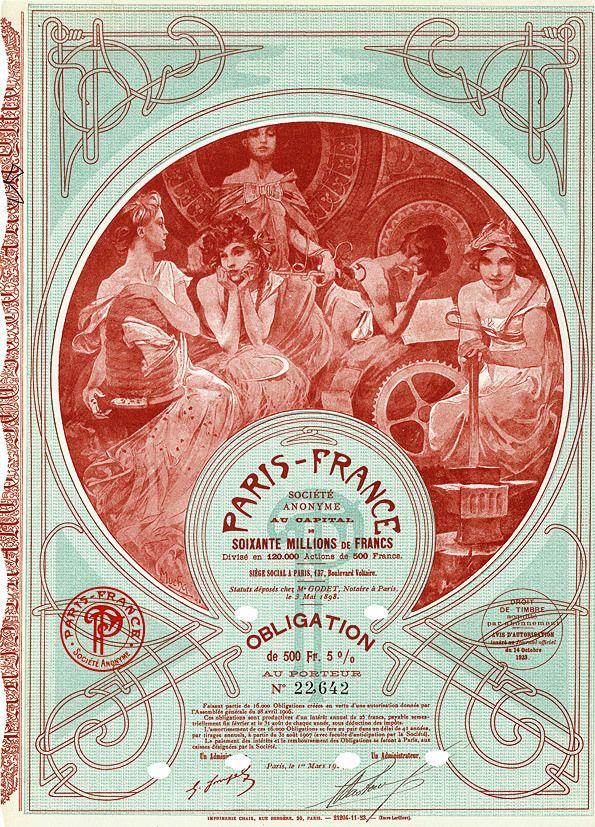 """littlepennydreadful: """" Alphonse Mucha, Securities for 'Société Anonyme Paris-France', 1897 """""""