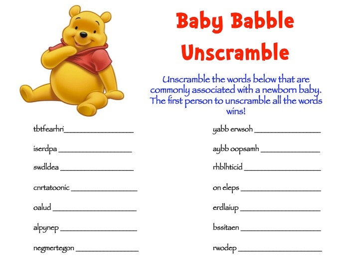 Winnie the Pooh Baby Shower Game Packs - I'm not a fan of the design, but the game sounds fun. :)