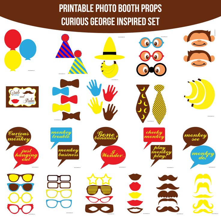 Instant Download Curious George Inspired Printable Photo Booth Prop Set \u2014 Amanda Keyt DIY Photo Booth  sc 1 st  Pinterest & 54 best Curious George Bithday Party images on Pinterest | Curious ...