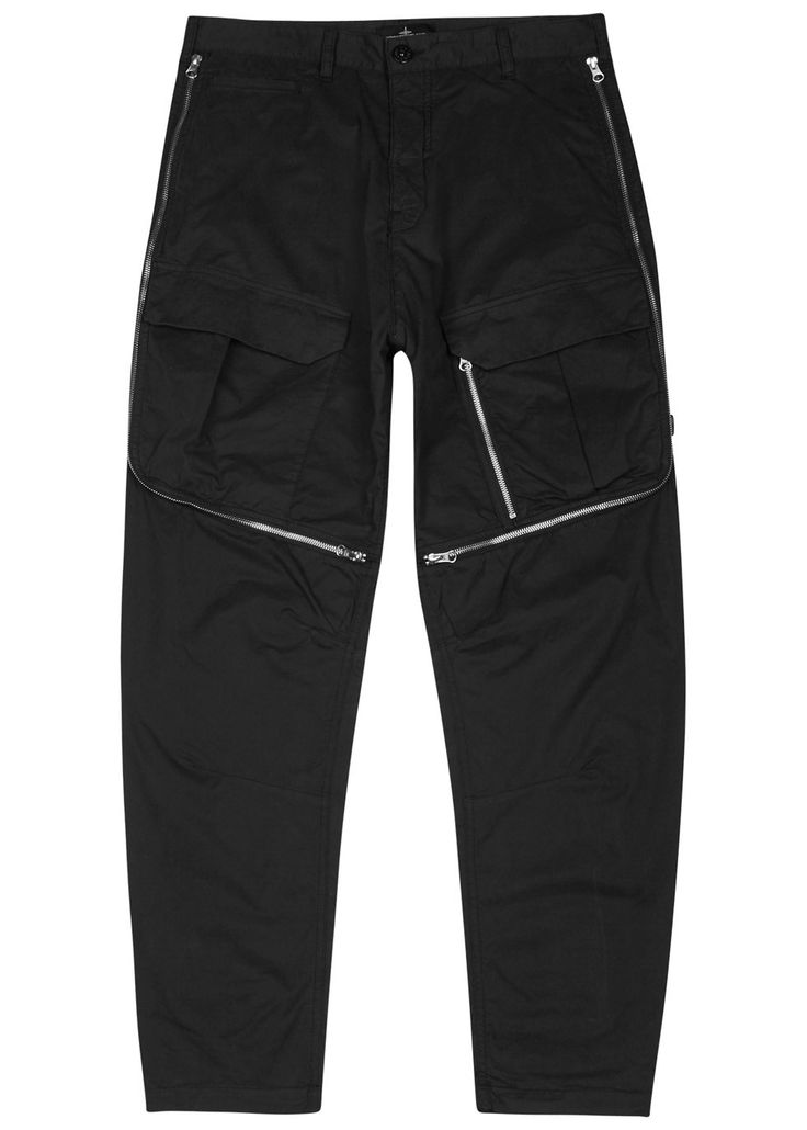 Stone Island X Shadow Project black brushed stretch cotton trousers  Belt loops, four front pockets, zipped sections with mesh underlay, two zipped back pockets, detachable designer plaque  Concealed zip and button fastenings at front   97% cotton, 3% elastane