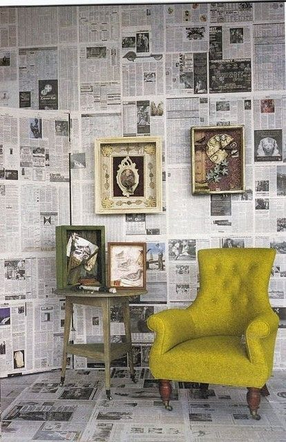 newspaper-wallpaper.  I plan to do this in my bathroom with maps!