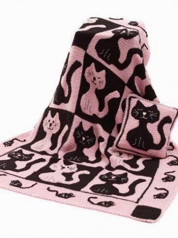 365 saker du kan sticka: Filt och kudde med katter