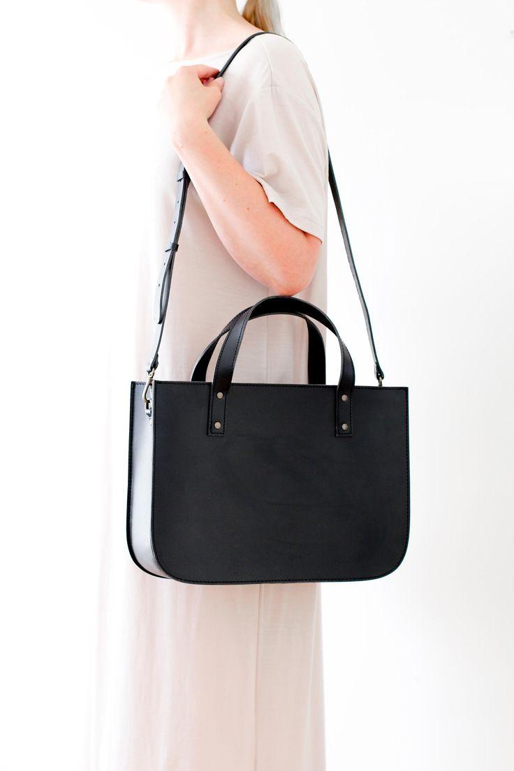 Outfit inspiration featuring the OTTO tote bag in black! Minimalistic unisex tote bag that fits your laptop and files in style. Handmade from vegetal tanned leather.