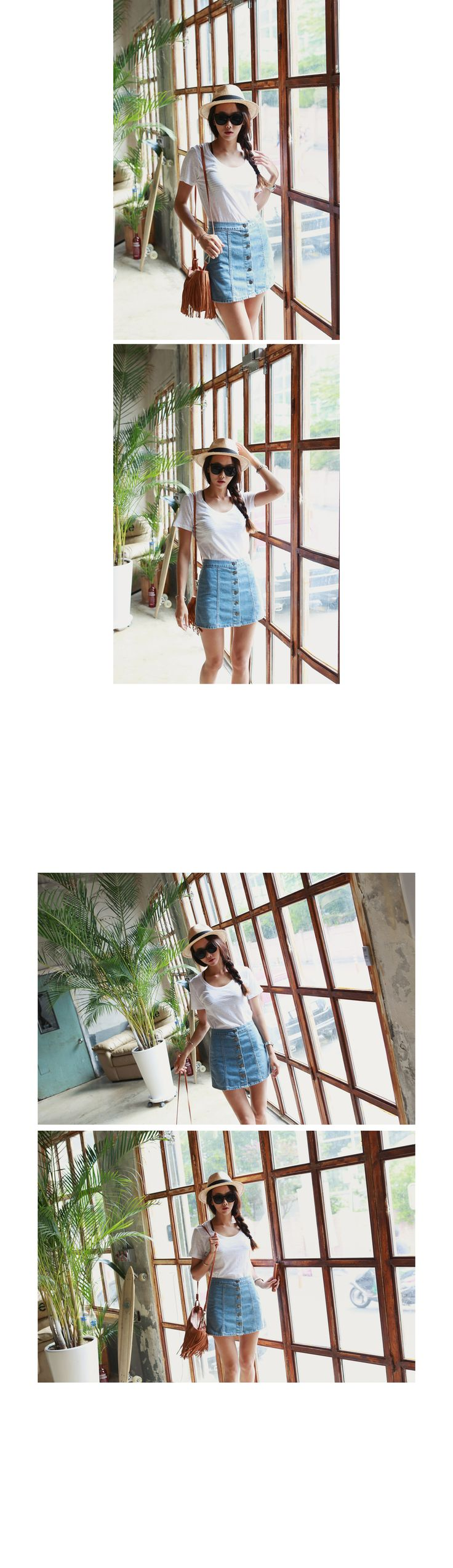 【Iamyuri】伸縮性のないコットン素材を使ったデニムスカートです。 シンプルなミニ丈デザインで足がすらっと長く見えるアイテム☆ フロントボタンでオープンクローズが可能です! カジュアルなTシャツやスニーカーとのコーデがオススメ♪