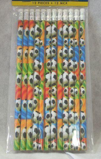 12 Matite deco palle da Calcio con gomma. Gadget per festa a tema Soccer o Compleanno. Disponibile da C&C Creations Store