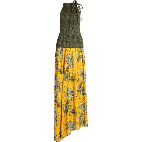 Loewe X Paulas Ibiza bird-print maxi dress ($1,990) ❤ liked on Polyvore featuring dresses, yellow print, draped maxi dresses, bird print dress, pattern halter top, yellow dress and halter top maxi dress