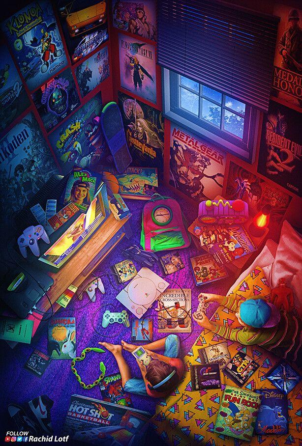 Artstation Playstation 1 Final Fantasy 7 Rachid Lotf Retro Gaming Art Retro Games Wallpaper Gaming Wallpapers
