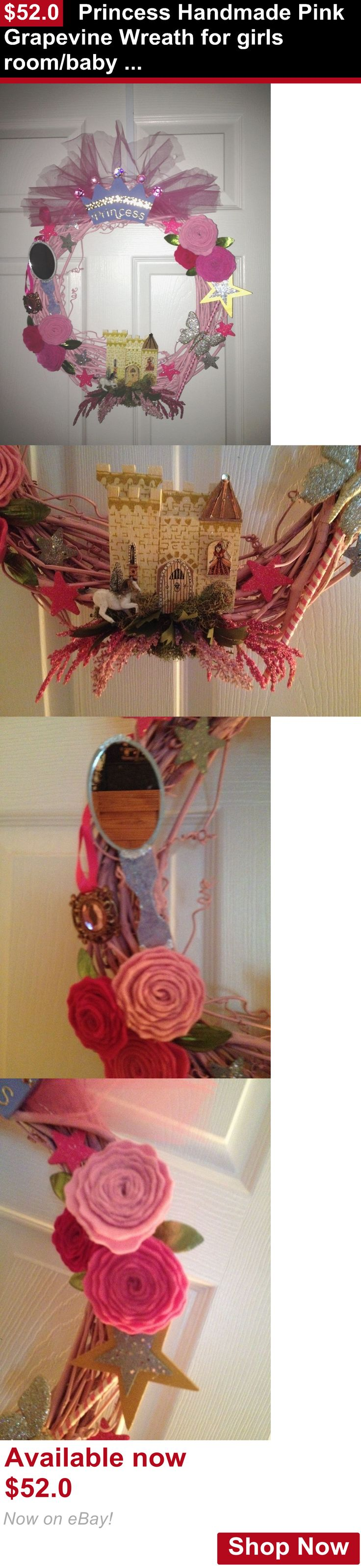 Wall Hangings: Princess Handmade Pink Grapevine Wreath For Girls Room/Baby Shower Gift Ooak BUY IT NOW ONLY: $52.0