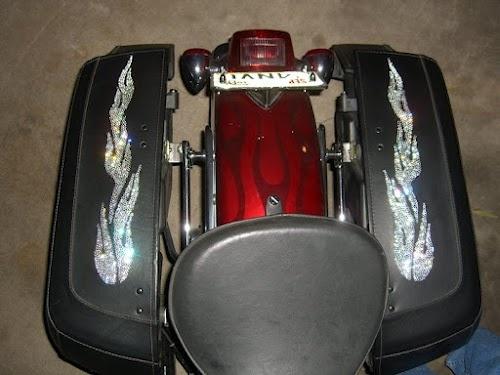 swarovski rhinestone flames on motorcycle saddlebags