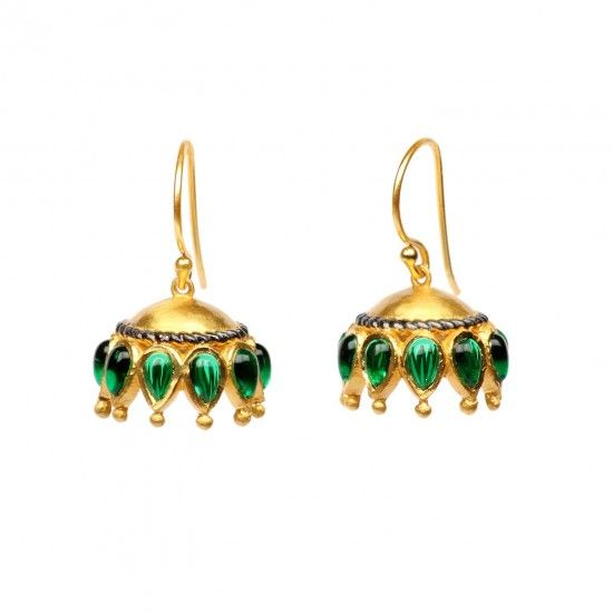 An ode to the traditional in true Gehna style! Vibrant emerald tear drops are set in sterling silver with gold finish reminiscent of petals with a delicate twisted wire of darkened silver that separates the gorgeous petals from the dome. The perfect craftsmanship or our artisans is evident in this stunning pair of jhumkis.