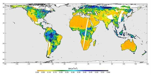 Primer mapa de humedad global del suelo del satélite SMAP