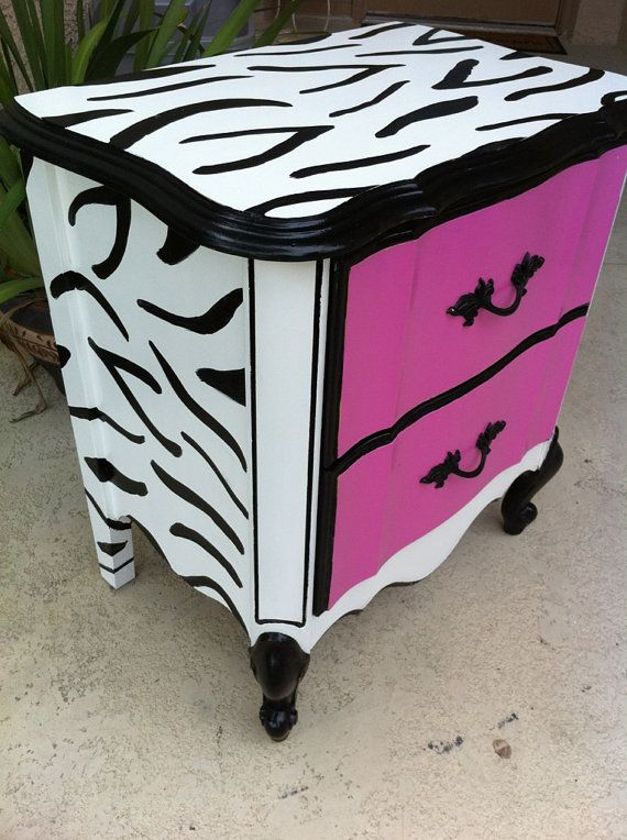 I so haave a dresser to do this to! I had re touched it before and have been looking for an idea to switch it up, and this will match our wild bedroom perfect :)i minus the pink. Either gonna do cheetah & red or cheetah and zebra on one
