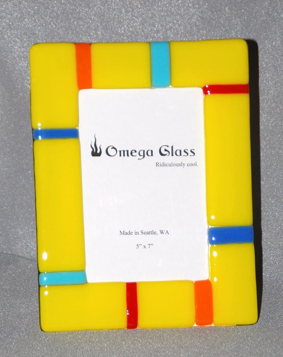 Yellow Photo Frame in Fused Glass, 5 x 7 Frame, 4 x 6 Photo, FREE ...