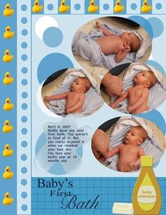 baby scrapbook layouts   Baby's First Bath – Digital Scrapbook Place Gallery   best stuff