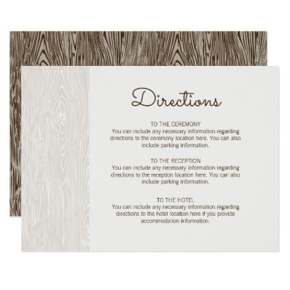 Modern Rustic Woodgrain Wedding Directions Card - wedding invitations diy cyo special idea personalize card