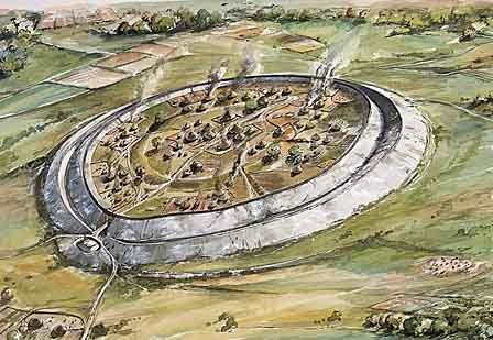A reconstruction drawing showing how the Iron Age hillfort at Old Sarum may have appeared in about 100 BC