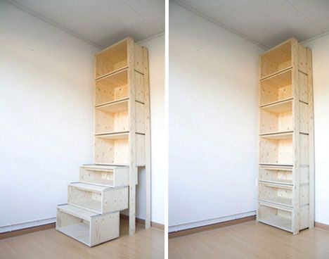 """""""The stairCASE is a tall piece of furniture – and its upper drawers would be inaccessible, were it not for the lower drawers. Like the Punished storage bin, this item allows the corners of rooms to be fully utilized – in designer Danny Kuo's words, """"our furniture needs to grow in height in order to be more efficient""""."""""""