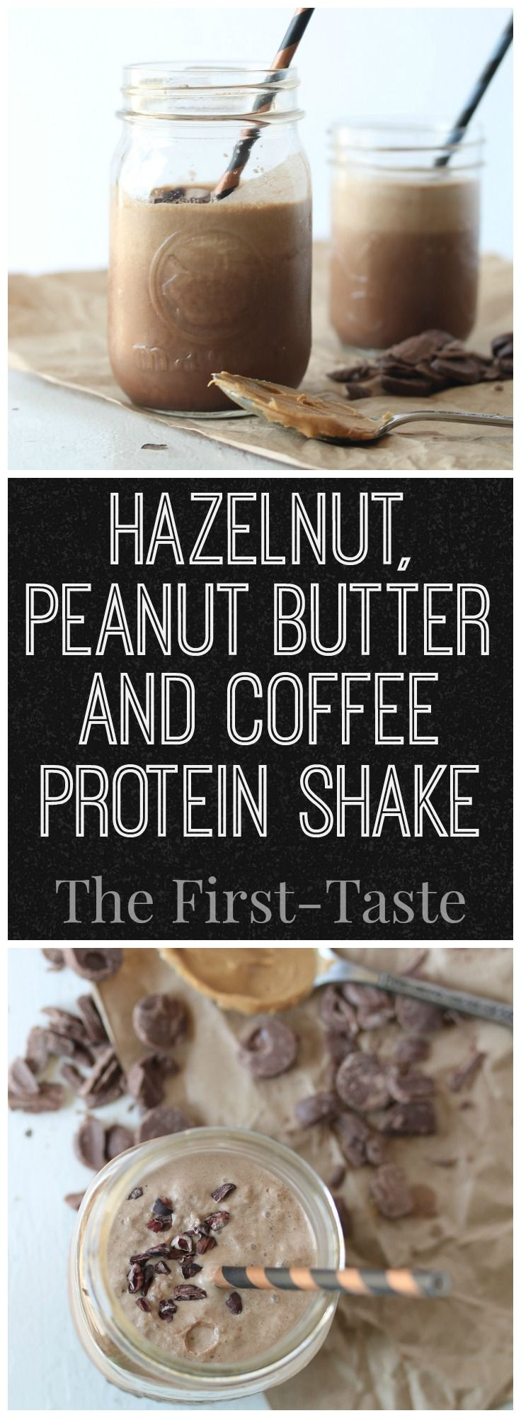 Hazelnut, Peanut Butter and Coffee Protein Shake. Keep your energy up AND treat yourself at the same time with this delicious Hazelnut, Peanut Butter & Coffee Protein Shake. High protein, low calories. The First-Taste.com. via @firsttaste2016