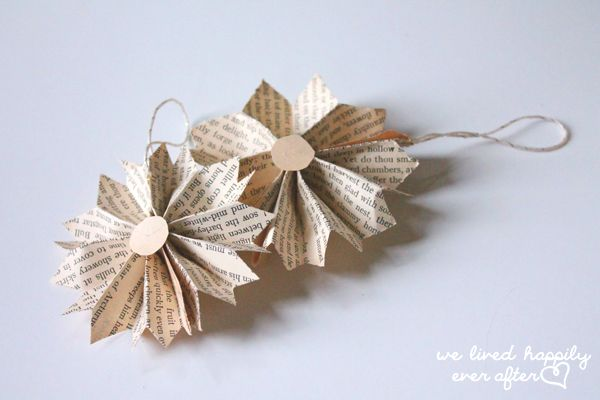 """We Lived Happily Ever After: Cheap Last Minute Christmas """"Vintage Book Page"""" Ornaments   Part 1"""
