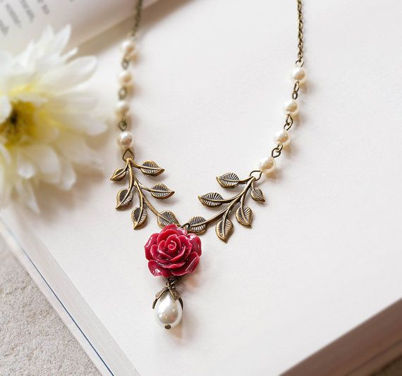 Burgundy Maroon Marsala Dark Red Necklace Rose Flower Leaf Cream White Pearl Wedding Bridal Necklace Bridesmaid Gift Winter Fall Wedding